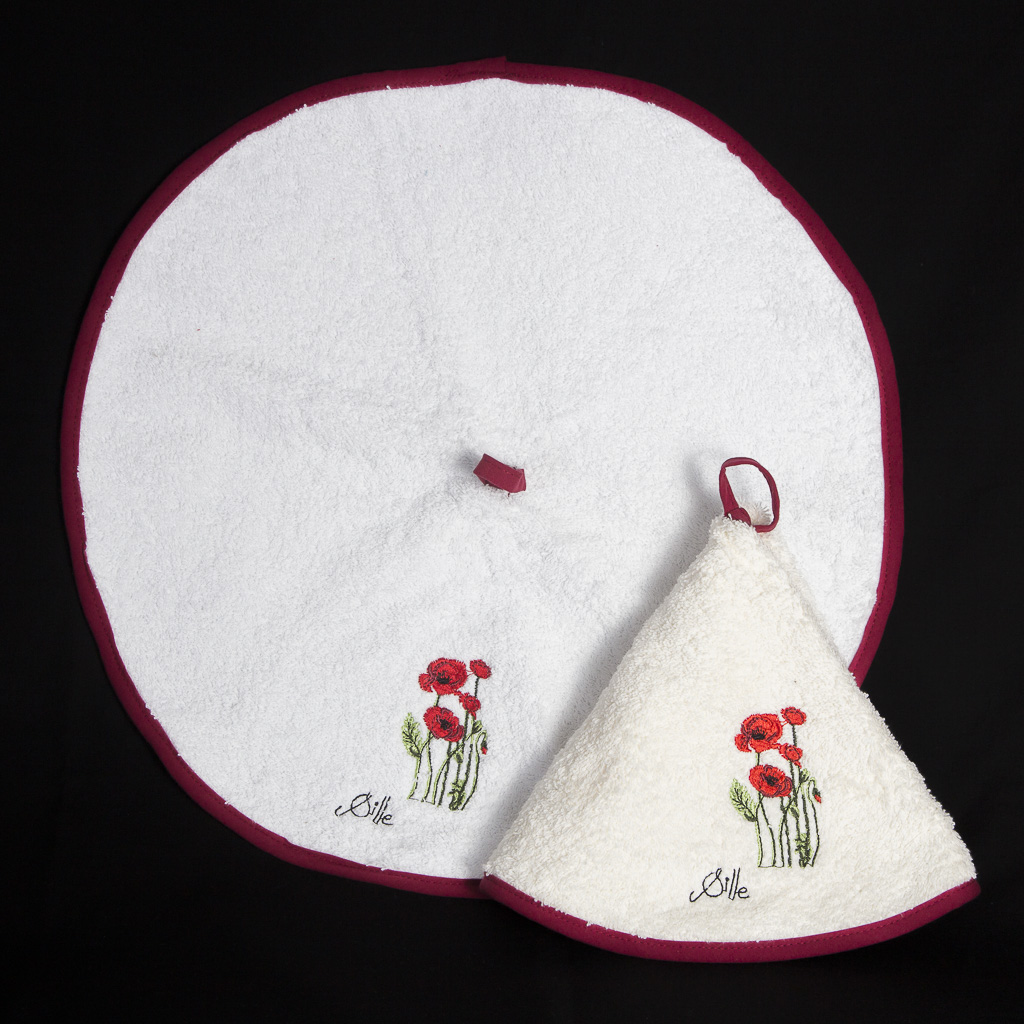 serviette ronde en ponge petit mod le poppies shop. Black Bedroom Furniture Sets. Home Design Ideas
